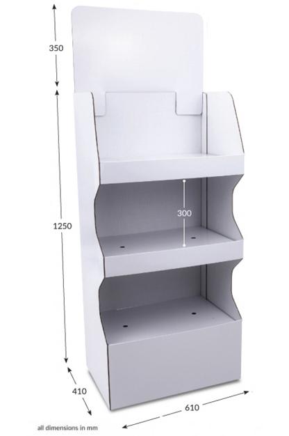 3 Shelf Wide Popup FSDU - Unprinted