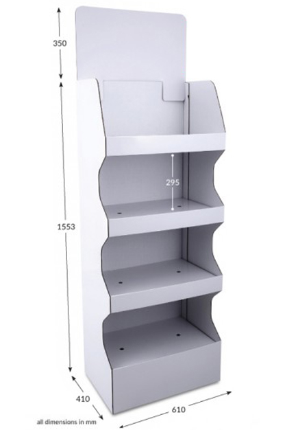 4 Shelf Wide Popup FSDU - Unprinted