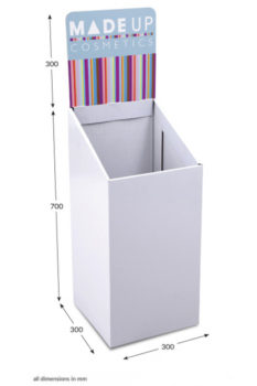 Small Square Dump Bin - Header Printed