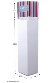 Tall Hexagonal Dump Bin - Header Printed